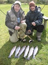 Two lads having a blinder on our Trout Lakes with a good catch of lovely Rainbow Trout
