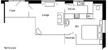 The floor plan layout of Craigfryn Cottage annexe